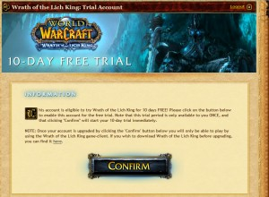 Wrath of the Lich King 10-day trial