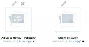 Na pierwszy rzut oka nie widać czy album jest prywatny